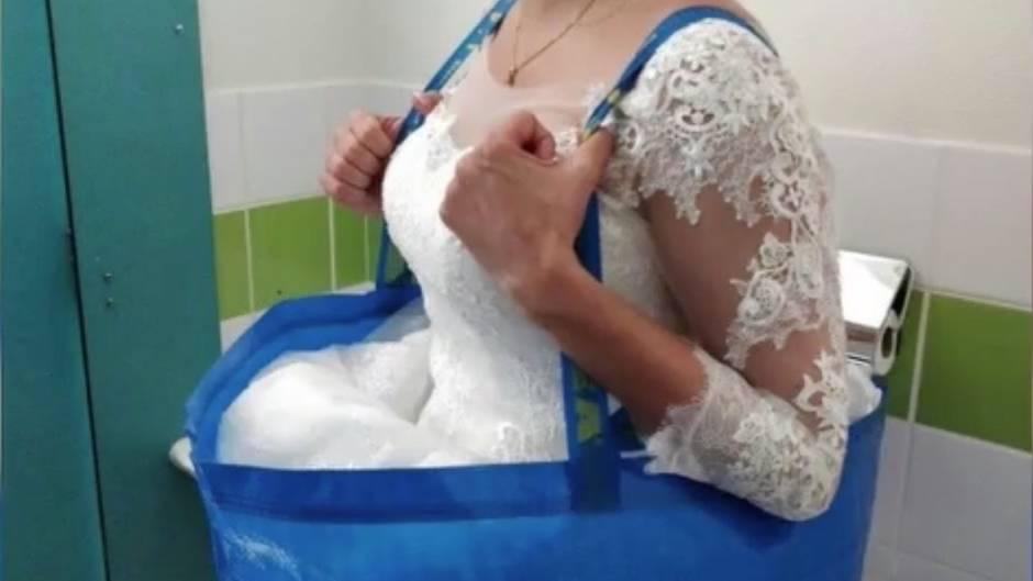 Geniale Idee: Eine Ikea-Tasche rettet dieser Braut ihr Hochzeitskleid