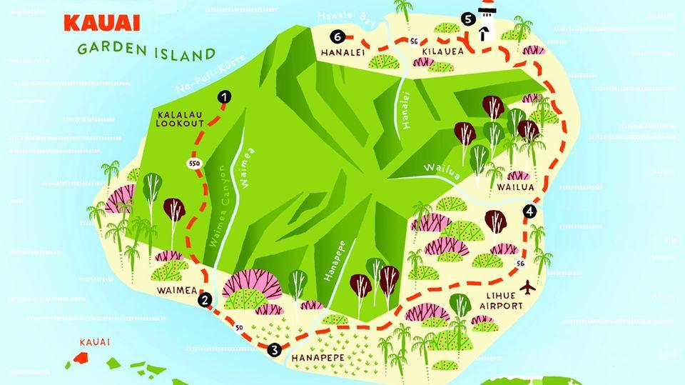 Auf gut 1400 Quadratkilometern rauschen im Landesinnern unzählige Wasserfälle die moosbewachsenen Felsen hinab, verströmen exotische Blüten ihren Duft. Und sogar wild lebende Hühner, Maskottchen der Kauaianer, gibt es in diesem Garten Eden. Für einen ersten Überblick erklimmt man am besten frühmorgens an der nördlichen Na Pali-Küste den Kalalau-Aussichtspunkt in 1200 Meter Höhe. Hin kommt man über die Kokee Road (Route 550, am 18-Meilen-Schild abfahren).
