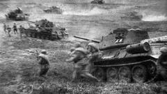Russische Gardetruppen im Angriff. In diesen Kämpfen müssen die Grenadiere die Panzer begleiten.