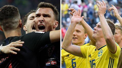 Spieler der Nationalmannschaften von Kroatien (l.) und Schweden