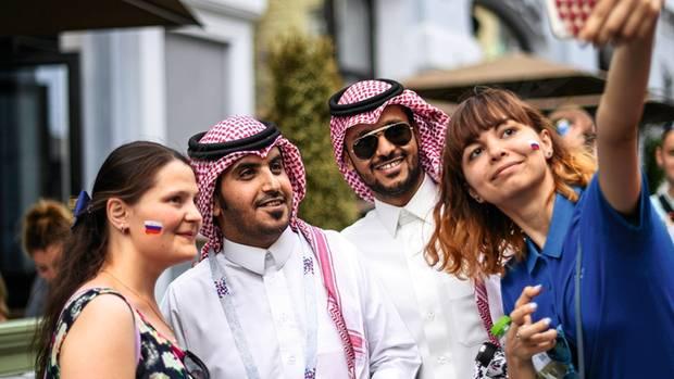 Verhüllt sind in Russland zur Zeit hauptsächlichdie Männer, wie diese Araber