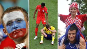 Links schaut ein russischer Fan traurig, in der Mitte tröstet ein englischer Spieler einen Schweden und rechts feiern Kroaten.