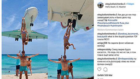 Akrobatische Szene an der Piste des Princess Juliana International Airportauf der Karibikinsel Sint Maarten.