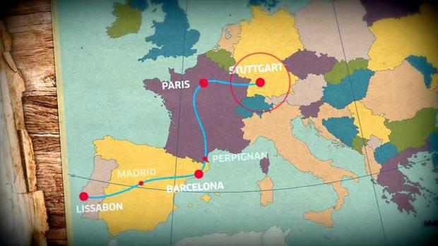 Das war ihre Route: von Stuttgart über Paris nach Perpignan und weiter nach Madrid. Von dort mit dem Nachtzug nach Lissabon. Nach 4 Tagen Lissabon wieder über Madrid nach Barcelona. Abschließend für zwei Tage nach Paris. Die Frauen reisten in zwei Wochen insgesamt etwa 6.000 Kilometer.