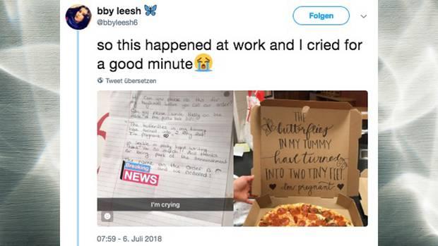 Schwangerschafts-Verkündung via Pizzakarton