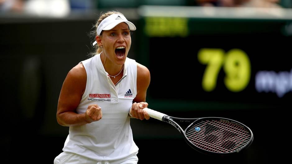 Angelique Kerber jubelt nach Punktgewinn in Wimbledon