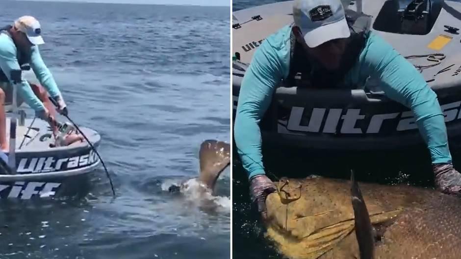 Gigantischer Fang: Riesiger Fisch zerstört Angel von Hobby-Fischer, doch der gibt den Kampf nicht auf