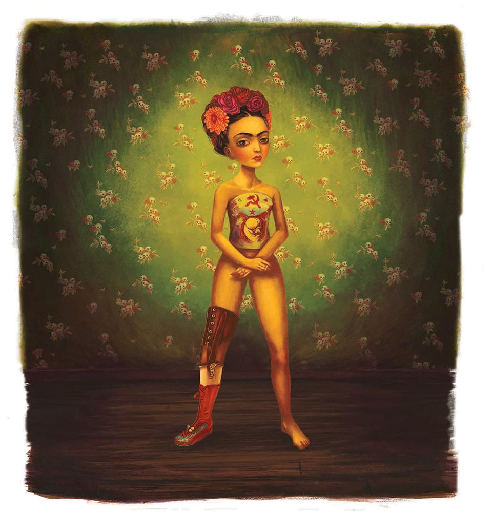 Frida Kahlo mit Rosen im Haar, Zigarette in der Hand, Gipskorsett und Gehhilfe