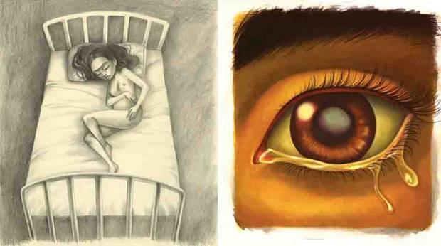Frida Kahlo liegt schwanger auf dem Bett