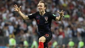 Luka Modric jubelt - mit Kroatien erreicht er das Finale der Fußball-WM in Russland