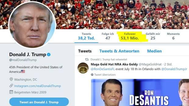 53,1 Millionen Follower von Donald Trump - das sind 300.000 weniger als noch am Donnerstag