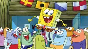 Spongebob wird von Fischen gefeiert