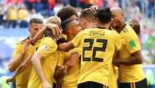 Die Spieler aus Belgien bejubeln den Treffer zum 1:0 gegen England im Spiel um Platz drei der WM 2018 in Russland