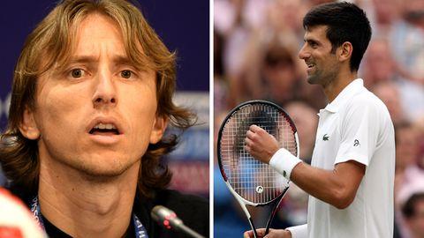 Luka Modric und Novak Djokovic: Unterstützung in ihren jeweiligen Finals