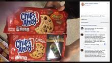"""Kellie Travers-Stafford zeigt zwei unterschiedliche Kekspackungen von """"Chips Ahoy"""" in der Farbe rot"""
