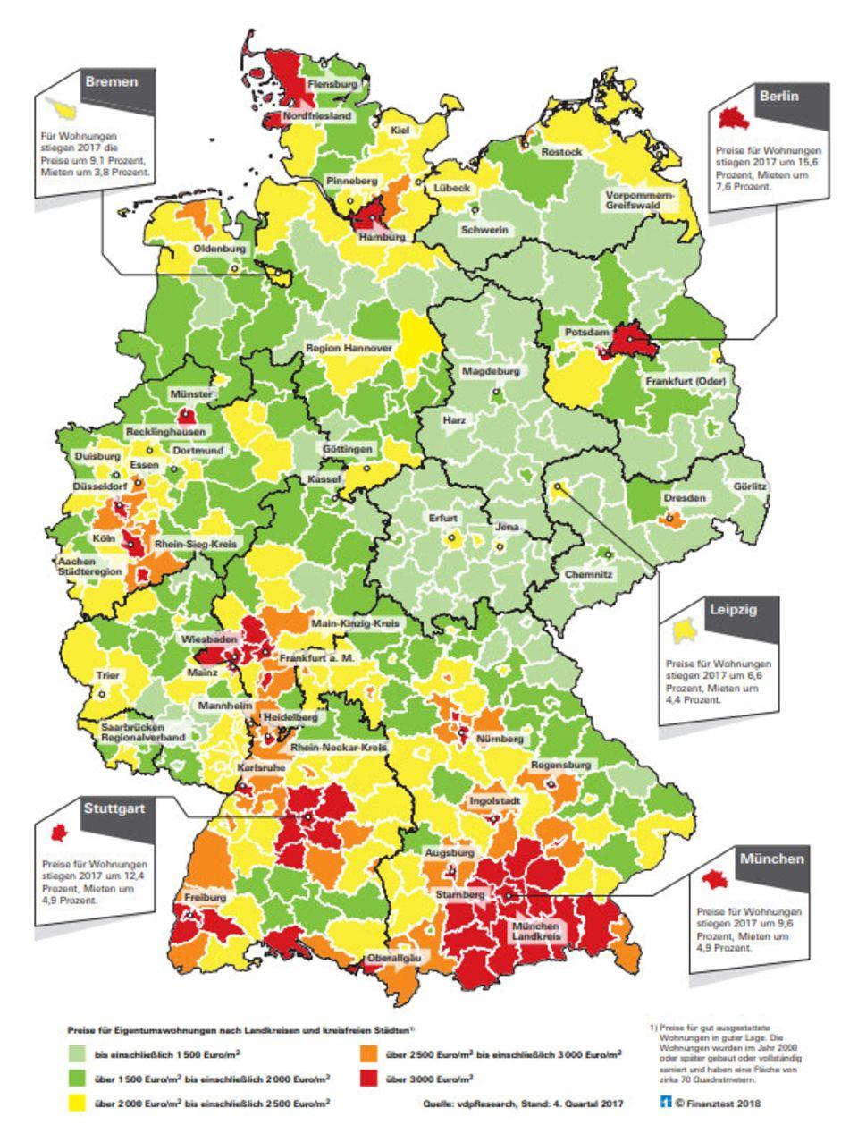 karte immobilienpreise deutschland Immobilienpreise: Finanztest erklärt, wo Eigenheime noch günstig
