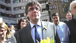 Carles Puigdemont, ehemaliger Präsident der spanischen Region Katalonien, in Berlin