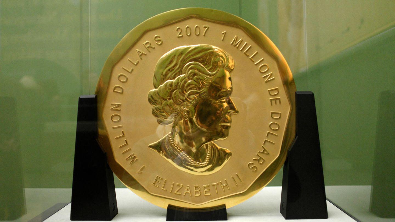 """Die 100 Kilogramm schwere Riesenmünze """"Big Maple Leaf"""" im Bode-Museum in Berlin vor dem Einbruch."""