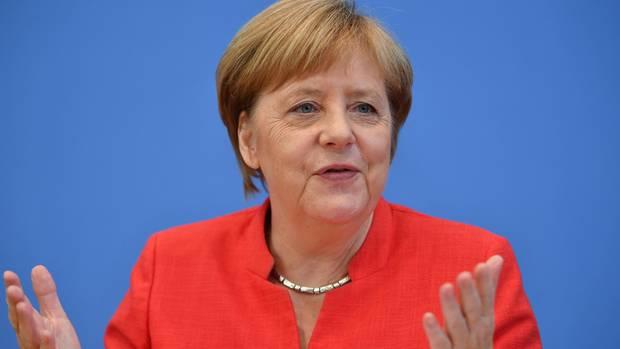 Angela Merkel bei der Pressekonferenz