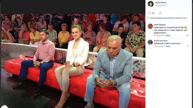 Maria Butina als Gast in einer russischen Polit-Show
