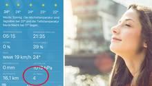 Screenshit eines UV-Index in einer Wetter-App