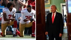 Dass NFL-Stras wieColin Kaepernick (l.) während der Hymne auf die Knie gehen, missfällt US-Präsident Donald Trump