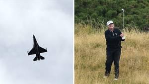 US-Präsident Donald Trump beim Golfen. Ein F16-Kampfjet fing ein Kleinflugzeug ab, das sich dem Golf-Anwesen näherte.