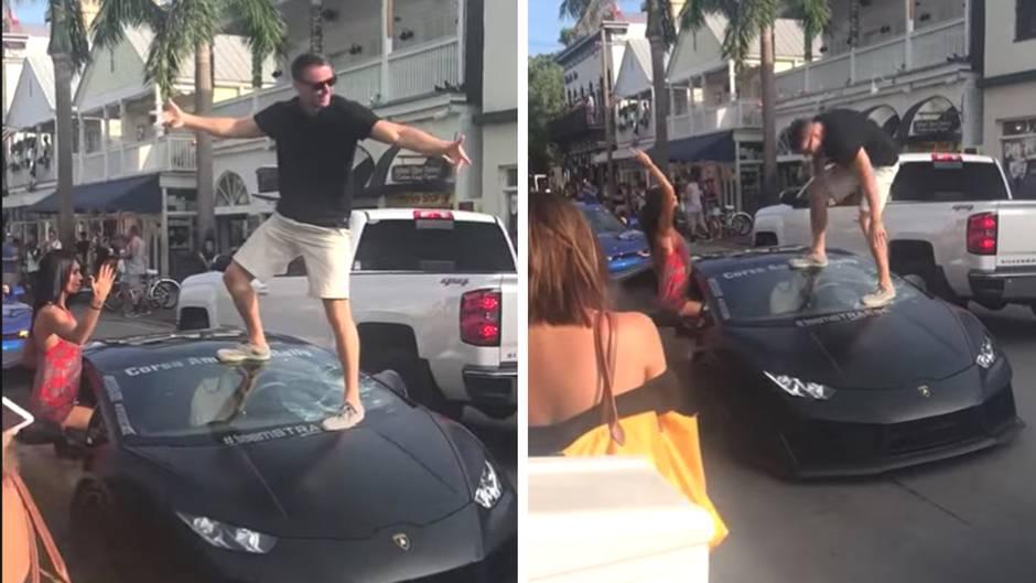 Peinlicher Vorfall: Lamborghini-Fahrer will auf seinem Auto posen - doch dann macht er sich komplett lächerlich