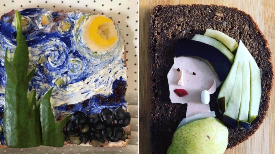 Zwei Brote die Kunstgemälde zeigen