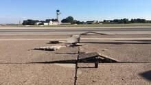 Am Flughafen Hannover hat die Hitze die Start- und Landebahn stark beschädigt