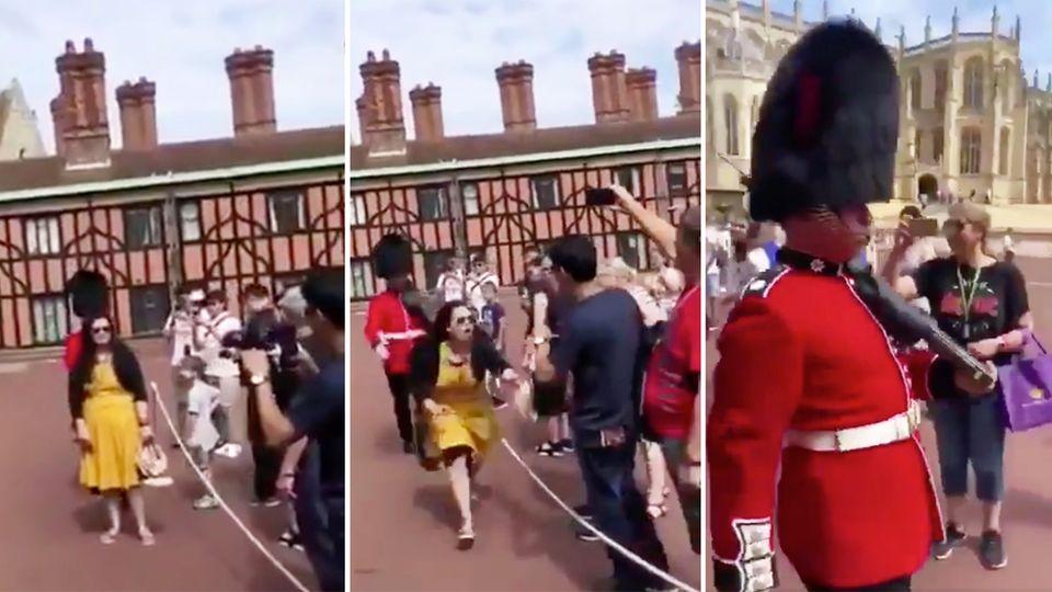 London: Royal Guard der Queen schubst posierende Touristin rabiat weg