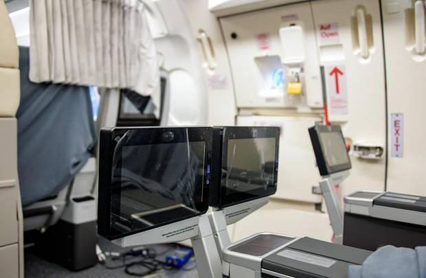 Neue Premiumsitze mit versenkbaren Bildschirmen in der Kabine des Airbus A321:Im Herbst wird das Flugzeug in die Flugbereitschaft der Bundesregierung aufgenommen.