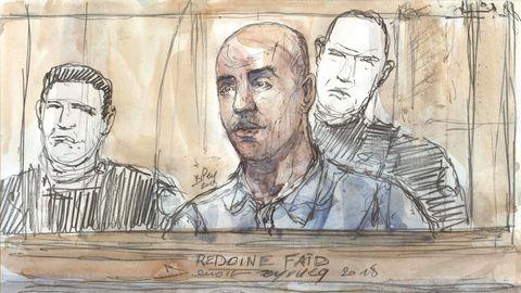 Zeichnung von Redoine Faïd, hier bei einer Gerichtsverhandlung