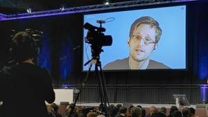 Edward Snowden beim 34. Chaos Communication Congress