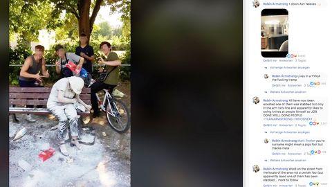 Facebookpost von Robin Armstrong; Screenshot aus seinem Video