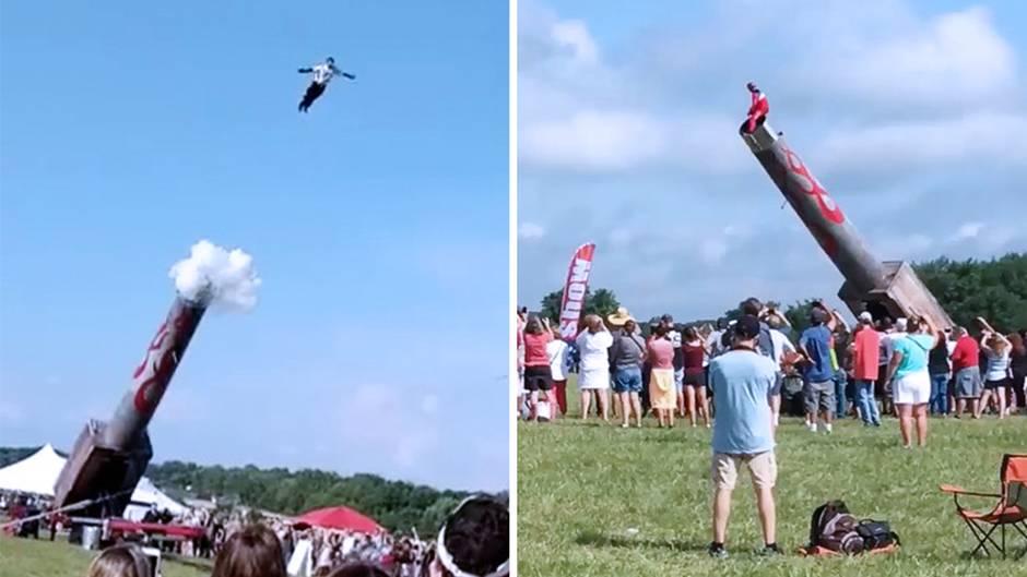 Menschliche Kanonenkugel: Spektakuläre Stuntshow: Kameramann patzt im entscheidenden Moment