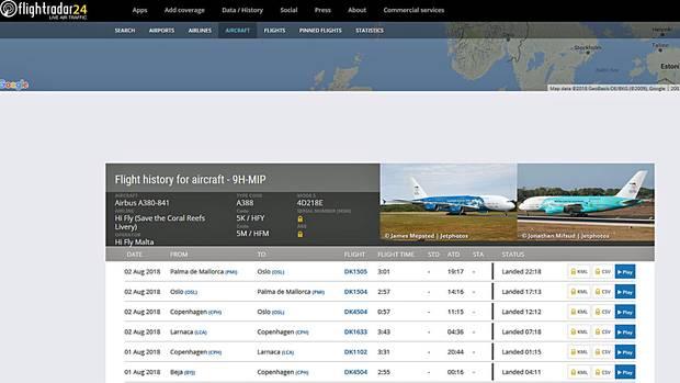 """Die Website """"flightradar24.com"""" zeigt die Charterflüge des Airbus A380 von Highflyin den letzten Tagen."""