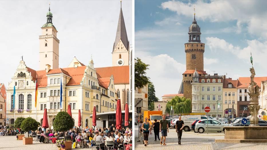 In Ingolstadt (links) verdienen die Menschen am meisten. Görlitz (rechts) ist zwar auch schön, der Landkreis ist aber der mit den niedrigsten Durchschnittsgehältern in Deutschland.
