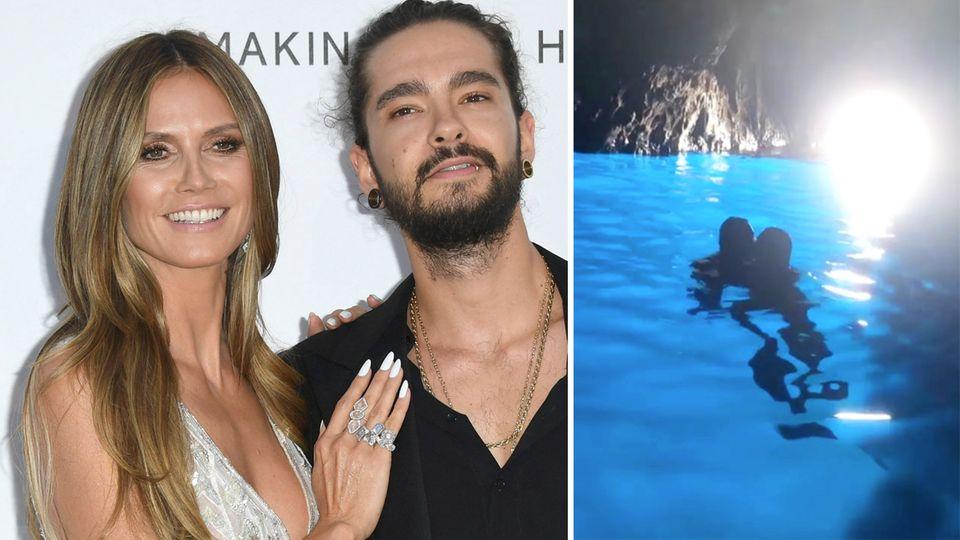 Heidi und Tom knutschen in blauer Grotte in Italien