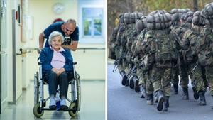 Links schiebt ein junger Pfleger eine ältere Dame im Rollstuhl, rechts marschiert ein Trupp Bundeswehrsoldaten