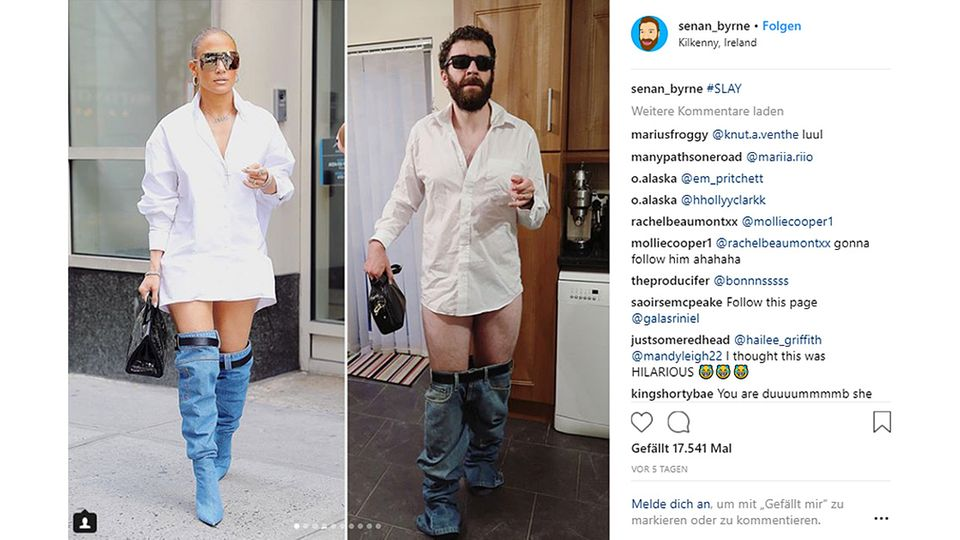 Schräges Designer-Outfit: Jennifer Lopez lässt die Hosen runter - und dieser Comedian veräppelt sie