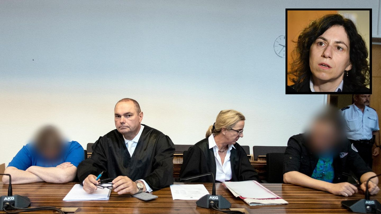 Berrin T. (l.) und Christian L. mit ihren Verteidigern vor dem Urteilsspruch im Prozess zum Missbrauchsfall von Staufen