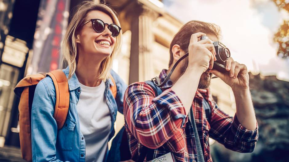 Touristen im Urlaub
