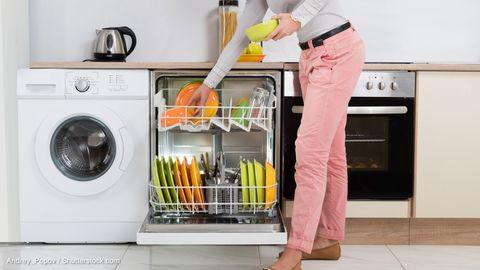 Person räumt Geschirr in eine Spülmaschine