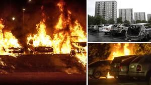 Fast 90 Autos gingen in der Nacht in Schweden in Flammen auf