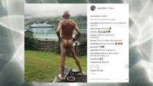 Screenshot von dem Instgram post, auf dem ein Mann nackt steht