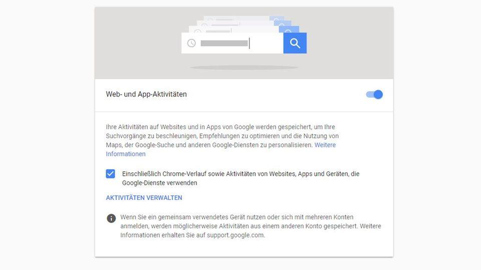 Aus der Beschreibung der Web- und App-Aktivitäten ist auf den ersten Blick kaum ersichtlich, dass auch der Standort gespeichert wird