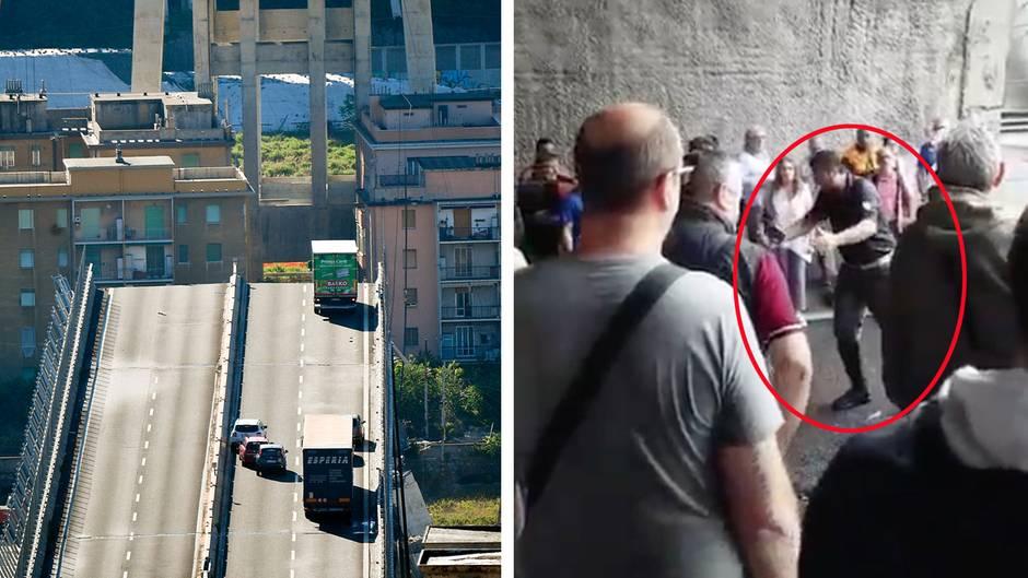 Genua in Italien: Nach Brückeneinsturz: Autofahrer wollen zu ihren Fahrzeugen - Polizist appelliert an ihr Verständnis