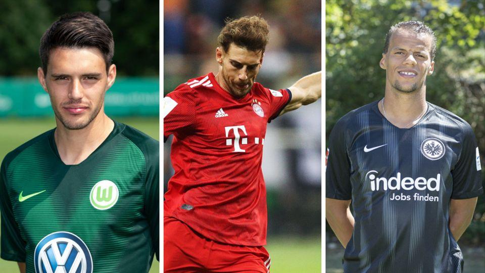 Links ein Spieler des VfL Wolfsburg im grünen Trikot, in der Mitte ein Bayern-Spieler in Rot und rechts ein Frankfurter Spieler