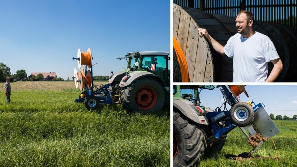 Marc Füstmann, oben rechts im Bild, und ein paar weitere Landwirte halfen sich kurzerhand selbst.